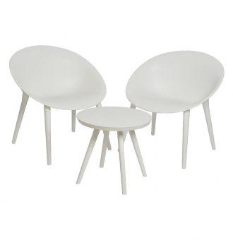 Set 2 Poltronas Com Mesa Branca Fabricada Em Polipropileno Tamanho Cadeiras 67X74X78