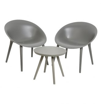 Set 2 Poltronas Com Mesa Antracite Fabricado Em Polipropileno Tamanho Cadeiras 67X74X78
