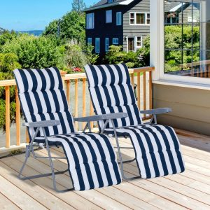 Outsunny Conjunto de 2 espreguiçadeiras acolchoadas reclináveis e reclináveis com apoio para os pés para a praia ou para o acampamento - azul e branco - aço - 58x90x110cm