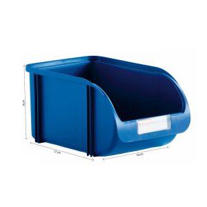 Caixa Contentora Empilhável 10X17X9Cm Titanium Azul Capacidade 1