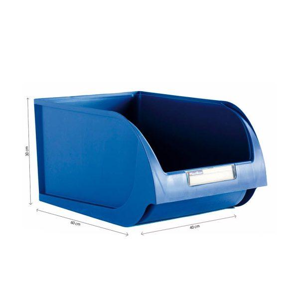 Caixa Contentora Empilhável 40X60X30Cm Titanium Azul Capacidade 70L