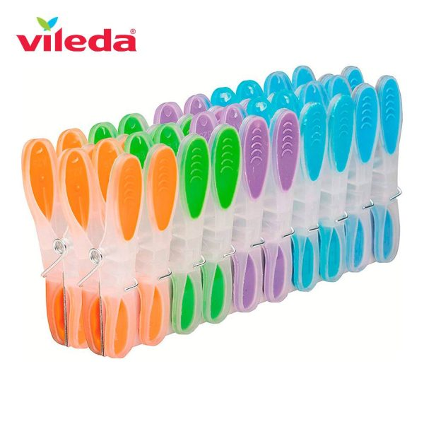 Pack Molas Soft And Strong Vileda 159129. 20 Molas Para Roupa De Plástico E Mola Antioxidante De Aço Revestido Com Aderência Suave