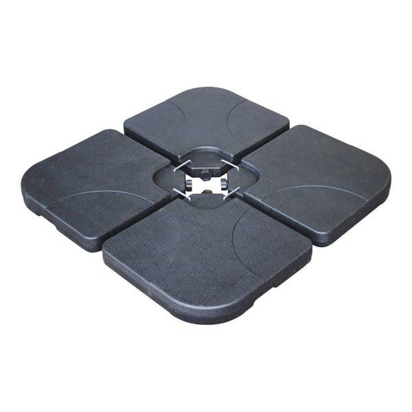 Base Para Parasol Excentrico Mod 81910 81911 De Plastico ( 4 Peças ) Resistente. Recarregável Com Água. Com Tampa De Rosca E Alça Metalica Para Ser Deslocado. Para Os Modelos 81910 81911