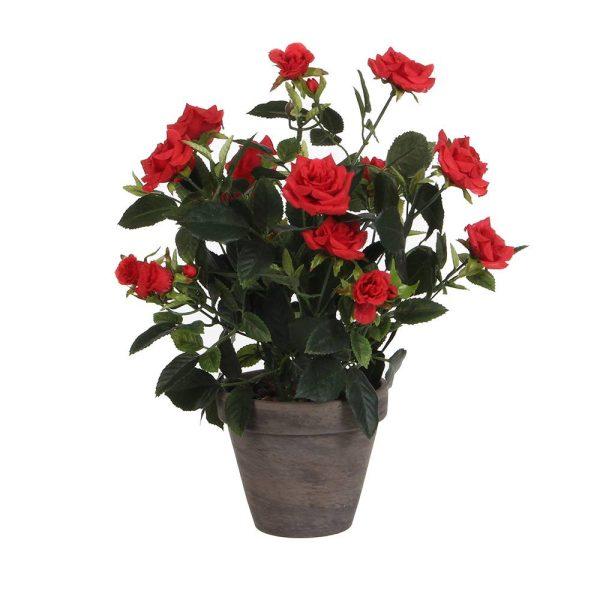 Vaso Cinzento Pvc Rosas Vermelhas D11.5Cm-H33Xd25Cm