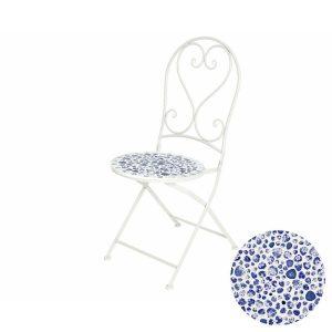 Cadeira De Ferro Com Mosaico Azul E Branco 47X39X94Cm