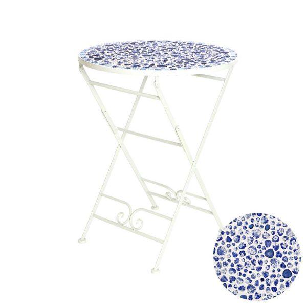 Mesa De Ferro Com Mosaico Azul E Branco 76Cm Ø60Cm
