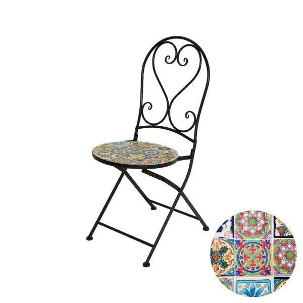 Cadeira De Ferro Com Mosaico De Cores Combinando Com Preto Modelo Praga Para Exterior 39X47X94Cm