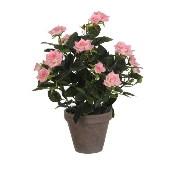 Vaso Cinzento Com Rosas Rosa Pvc 11.5Cm. 33X25Cm