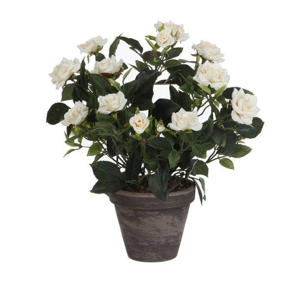 Vaso Cinzento Pvc Rosas Branca 11.5Cm 33X25Cm