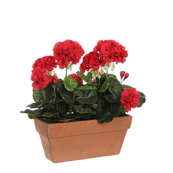 Gerânio Pvc Vermelho Em Vaso Para Varanda 29X3X40Cm