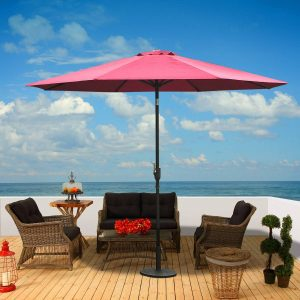 Guarda-sol reclinável para jardim e terraço - Cor do vinho tinto - Ferro - Φ3x2.45m