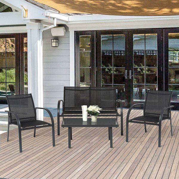 Outsunny Conjunto de Poltronas de Jardim com Mesa de Café e Sofá 65x110x78cm Preto