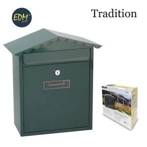 Caixa De Correio Em Aço Modelo Tradition Verde Medidas: 260X90X355Mm Inclui 2 Chaves E Parafusos Para Instalação