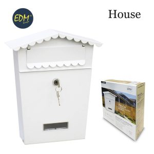 Caixa De Correio Em Aço Modelo House Branco Medidas: 210X60X300Mm Inclui 2 Chaves E Parafusos Para Instalação