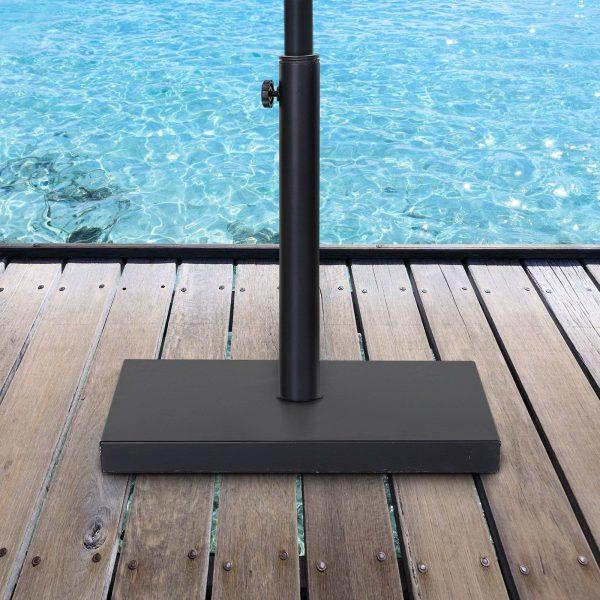 Base para guarda-sol de terraço com roda para ajustar o aço 45x45x39cm preto