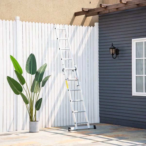 Escada dobrável de alumínio portátil 2 maneiras de usar o trilho de articulação 150kg de prata