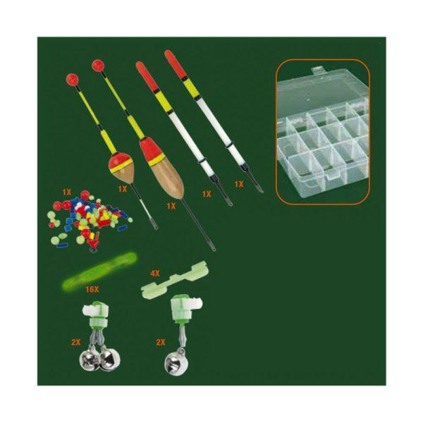 Kit Para Pesca Noturna 29 Peças. Com 15 Divisoes Pequenas E 2 Grandes. Inclui 16 Sticks Verdes