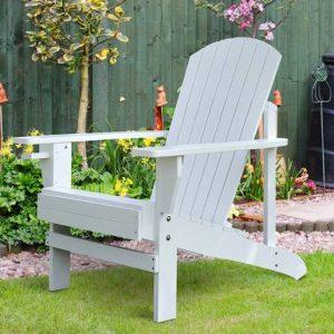 Adirondack Cadeira para Jardim Adirondack Poltrona para Pátios Exterior Estilo Clássico Ergonômico 97x72.5x93cm Branco