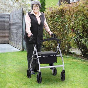 Andador adulto com assento e apoio de pés dobrável 75.5x58x84-99cm