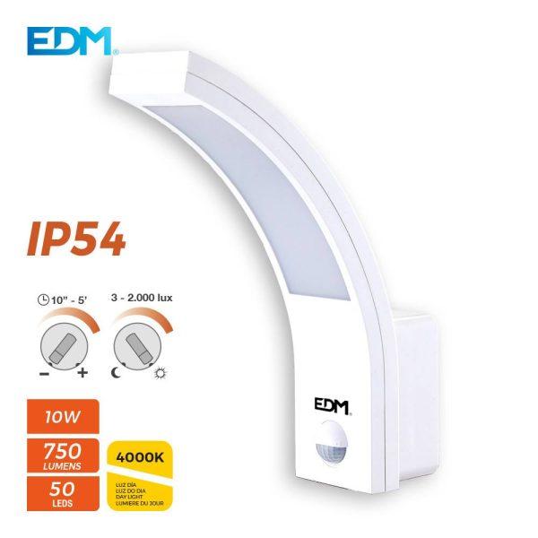 Aplique Exterior Led 10W  750  Lumens 4.000K Com Sensor. Ang