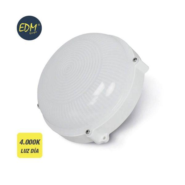 Aplique Exterior Led Redondo 12W 1080 Lumens Ip65 4.000K Luz