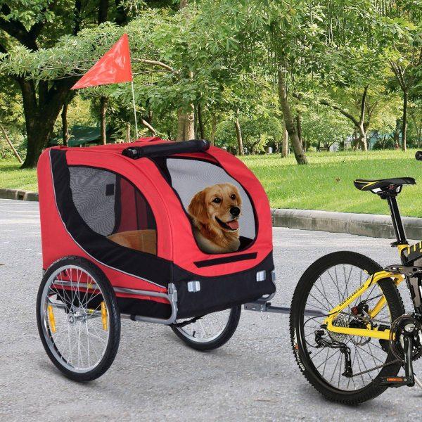 Atrelado para Bicicleta com Refletores e Bandeira para Animal de estimação tipo Cão - Vermelho e preto - 130x90x110 cm