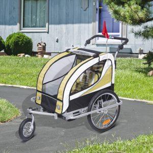 Atrelado para Bicicleta tipo Carro com Barra de Passeio para Crianças