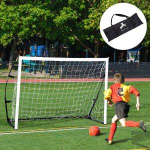 Baliza de Futebol Portátil para Crianças e Adultos com Estrutura de Aço e Bolsa de Transporte - 183x50x122cm