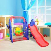 Baloiço com escorrega e tabela de basquetebol para crianças - Plástico - 167x164x120cm