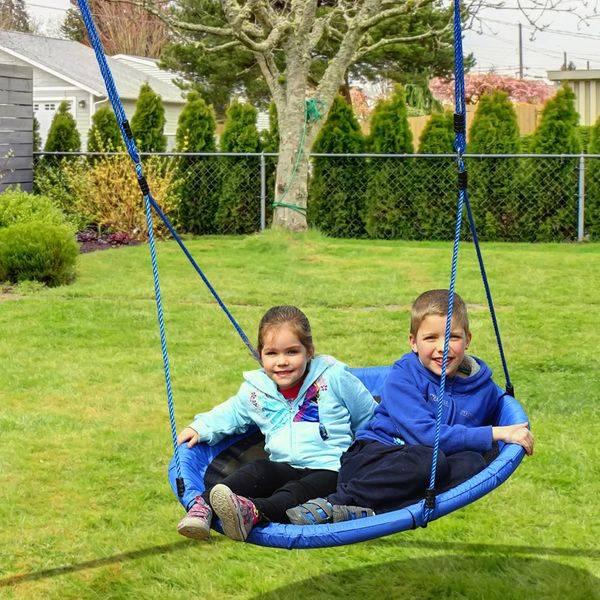Baloiço de Criança Jardím Dobrável Assento de Baloiço Infantil Interior e Exterior Carga 100kg Tecido de Oxford - φ100x180cm