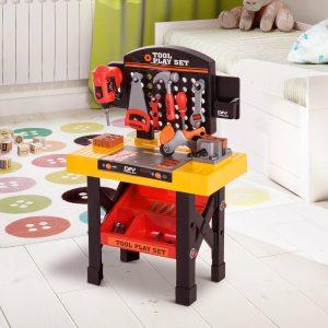 Bancada de trabalho para ferramentas de brinquedo para crianças 53 peças 50x26x75cm