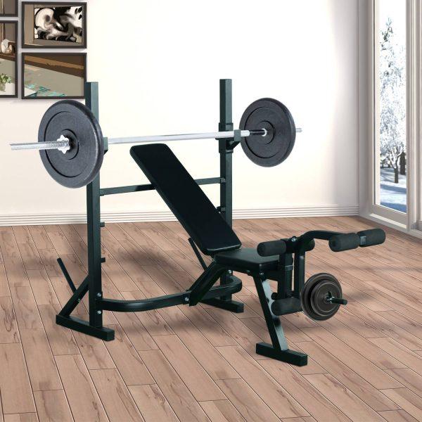 Banco de Musculação Aço Preto fitness Esportes indoor#Euficoemcasa 175x98x130cm
