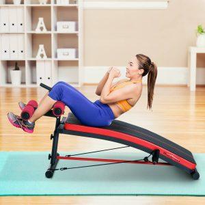 Banco de Musculação Banco Abdominal Pesos Alongamento de Braços Multifuncional Dobrável para Fitness com 2 Cordas Expansor Aço - 140x73x57cm