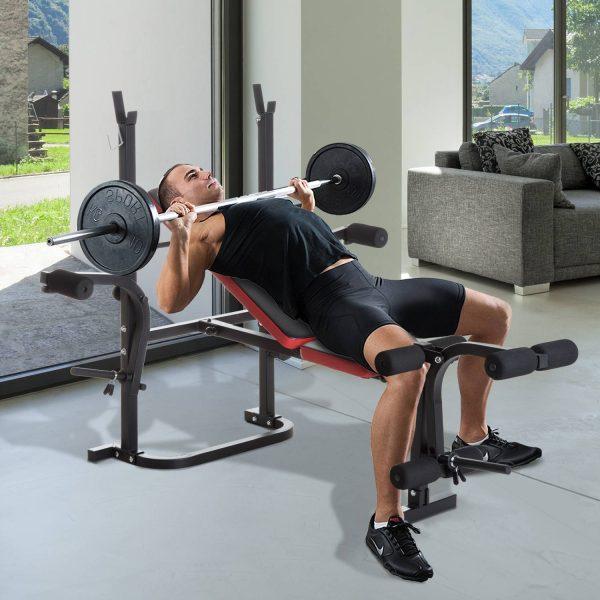 Banco de Musculação com Encosto Ajustável Carga de 150kg Aço - 105x150x112cm