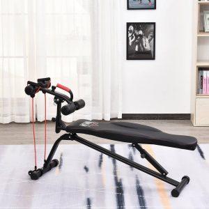 Banco de exercícios abdominal dobrável para fitness 150x45x77-85cm preto