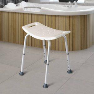 Banquinho de Duche Cadeira Banho 8 Posições Altura Regulável com Tampões de Borracha