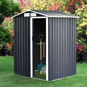 Barração de jardim Metálico Armazém de ferramentas Telhado inclinado 4 ventilações 150x130x186cm cinza e branco