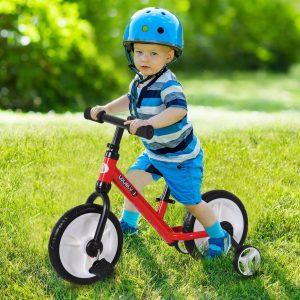Bicicleta Balance com pedais e rodas removíveis Cor vermelha Assento ajustável 33-38cm Crianças +2 Anos Carga 25kg