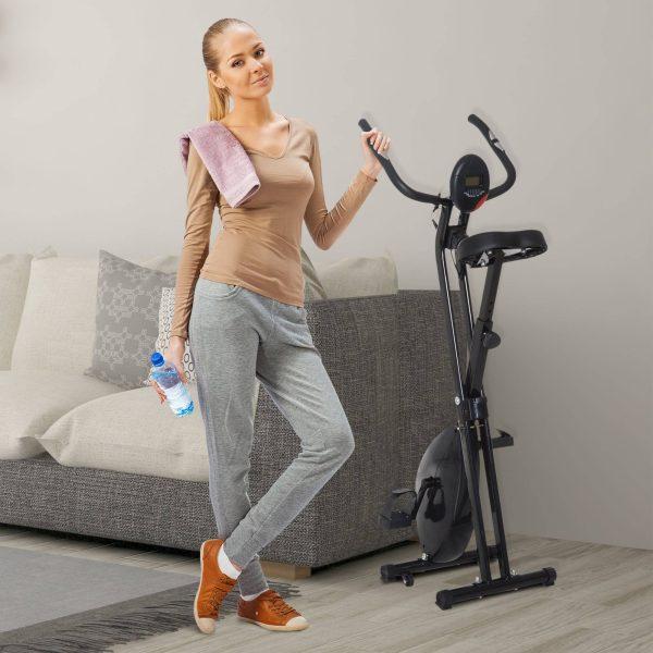 Bicicleta Estática Dobrável Bicicleta Magnética Xbike com Resistência Ajustável Pulsómetro Visor LCD Selim Confortável Aço