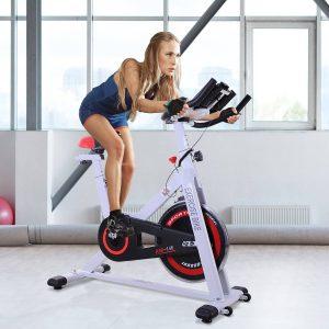 Bicicleta Estática de Spinning Bicicleta de Fitness Ecrã LCD Assento e Guiador Ajustável Resistência Regulável Carga 120kg 107x48x100cm Aço Branco