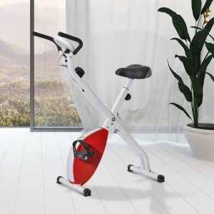 Bicicleta estática de 8 níveis com ecrã digital para fitness e spinning - Carga máxima 110kg - 41x66x104cm