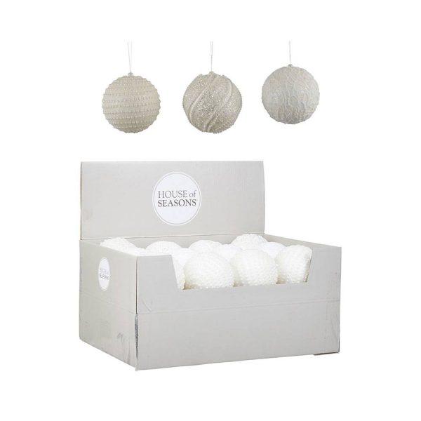 Bolas De Natal Para Árvore De Cor Branco Modelos Sortidos 8C