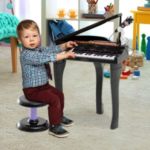 Brinquedo de Piano Mini Teclado de Piano Eletrônico com 37 Teclas Microfone Alto-falante preto
