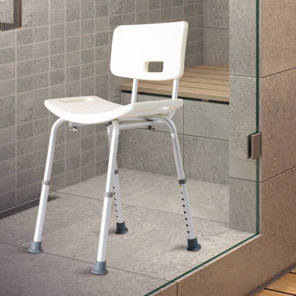 Cadeira Duche Alumínio Ajuda Banho Banquinho Banqueta Regulável Ajustável WC Assento