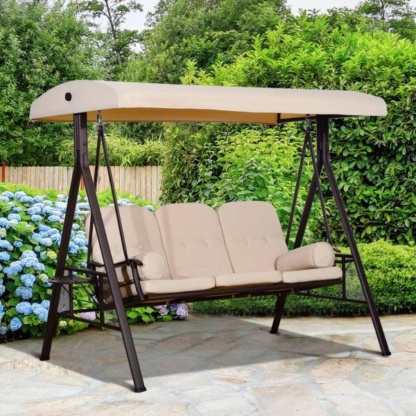 Cadeira de Balanço Jardím 3 Lugares com Teto Bandeja para Bebida Aço-Bege- 120.5x207x174cm