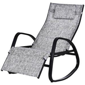 Cadeira de balanço ao ar livre com encosto e apoio para pés Ajustável em cinza