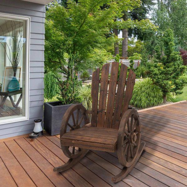 Cadeira de balanço de madeira para terraço Poltrona de balanço ao ar livre 88x68x97cm