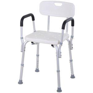 Cadeira de banho ajustável em altura incorpora encosto e apoio de braço