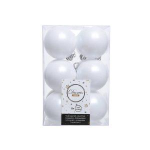 Caixa De 12 Bolas Brancas Decorativas Para Árvore De Natal