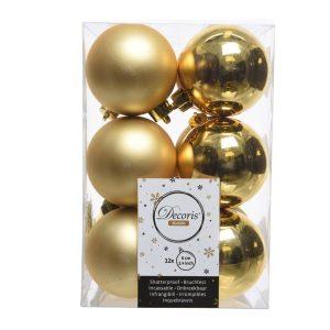 Caixa De 12 Bolas Douradas Decorativas Para Árvore De Natal